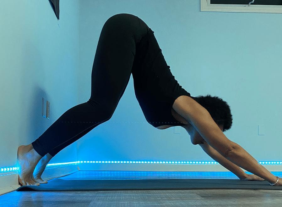 Sarah K in Downdog at the Wall Yoga Pose